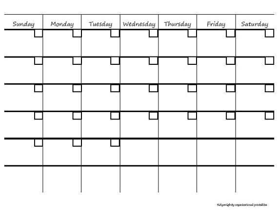 post blank month at a glance printable calendar 101074