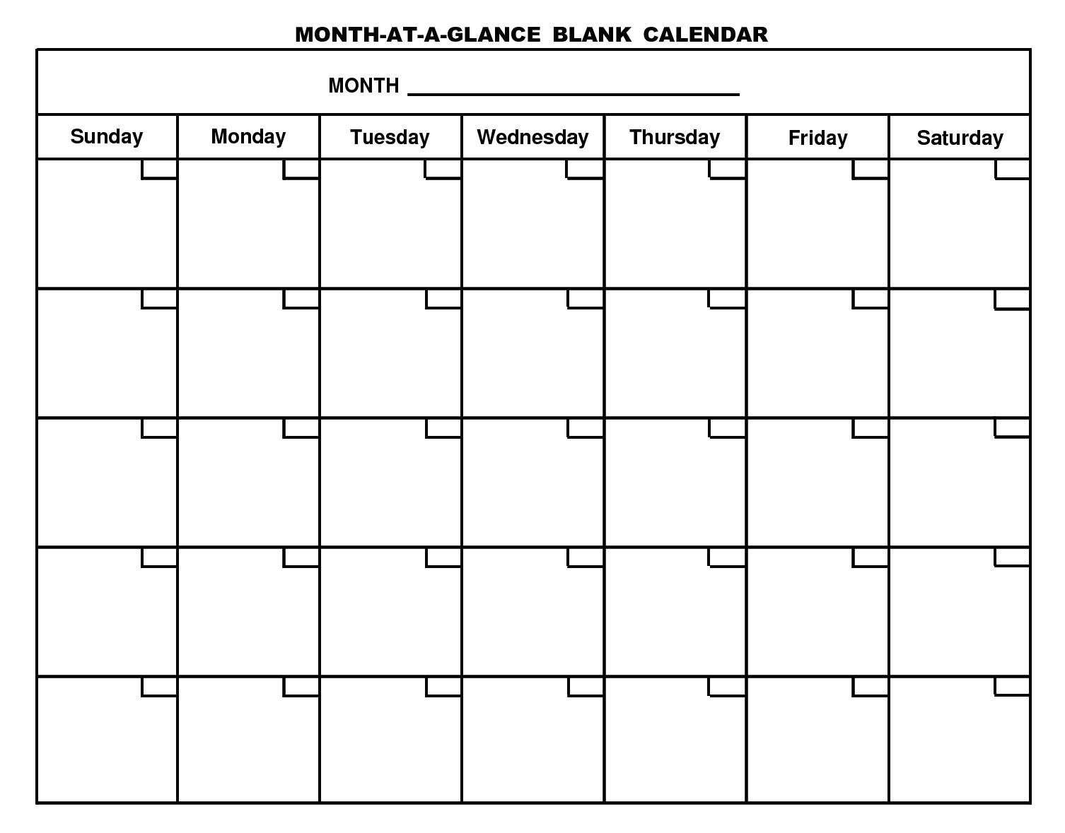 Month at A Glance Calendar Template Planning Archives Print Me Baby