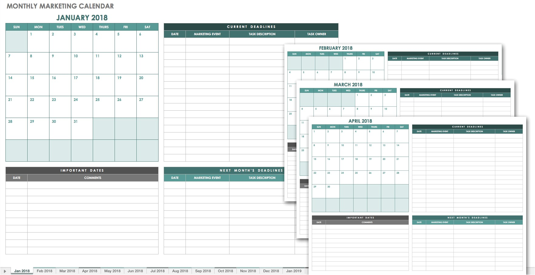 free monthly calendar templates