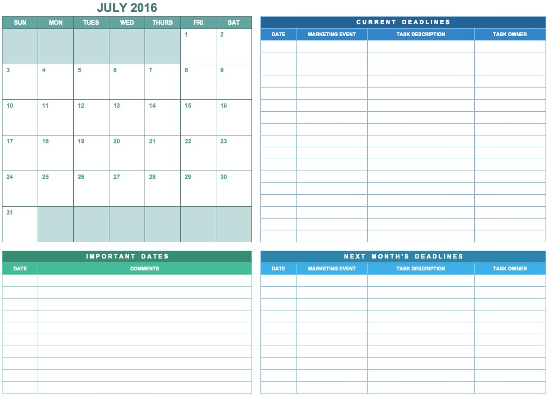 9 free marketing calendar templates excel