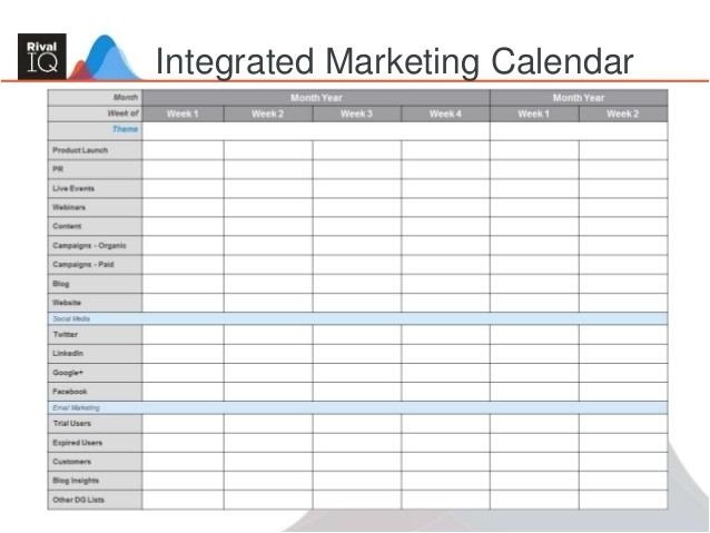 Monthly Marketing Calendar Template Building An Integrated Marketing Plan