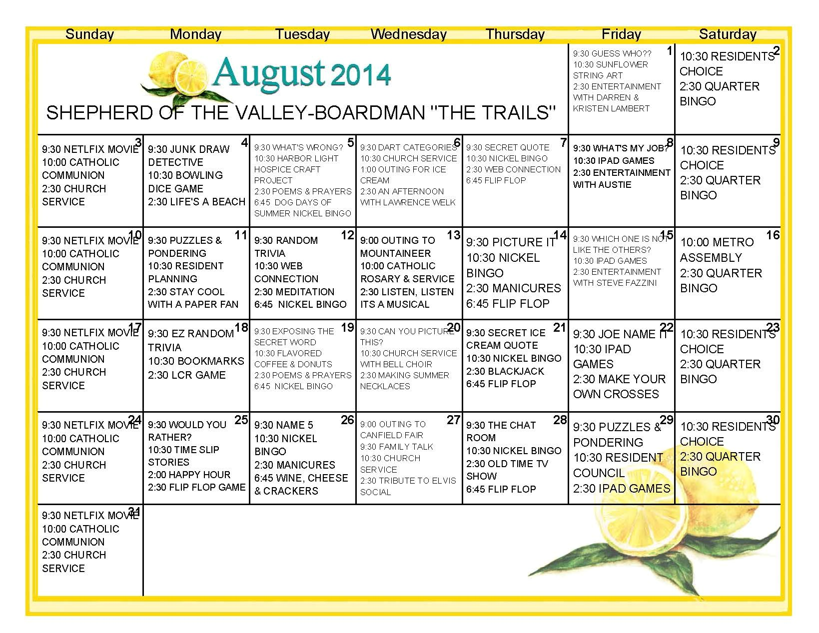 nursing home activity calendar template