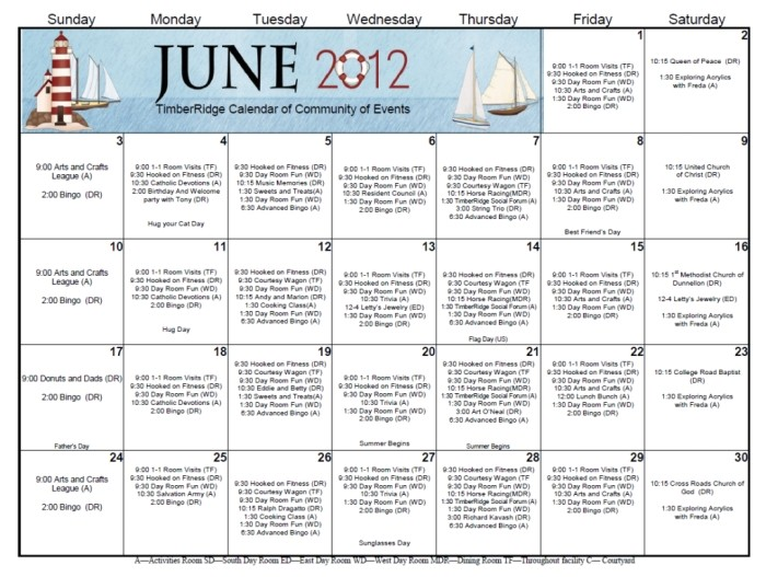 nursing home activity calendars