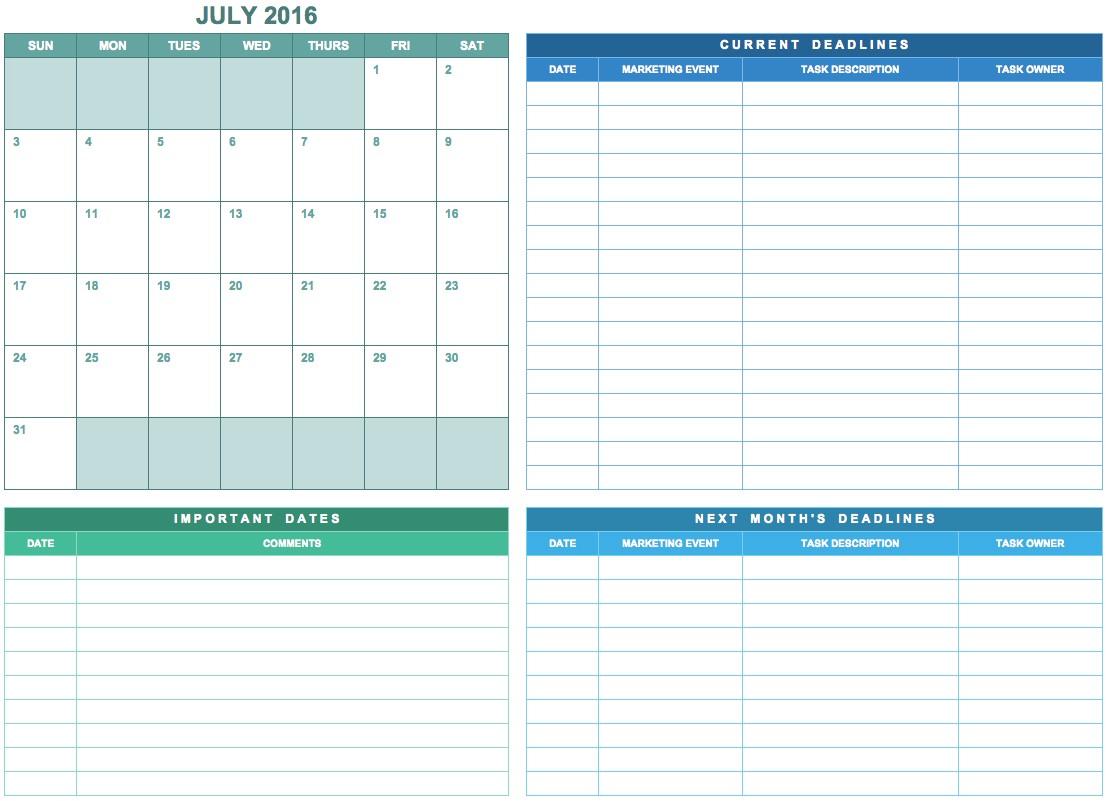 Online Marketing Calendar Template 9 Free Marketing Calendar Templates for Excel Smartsheet
