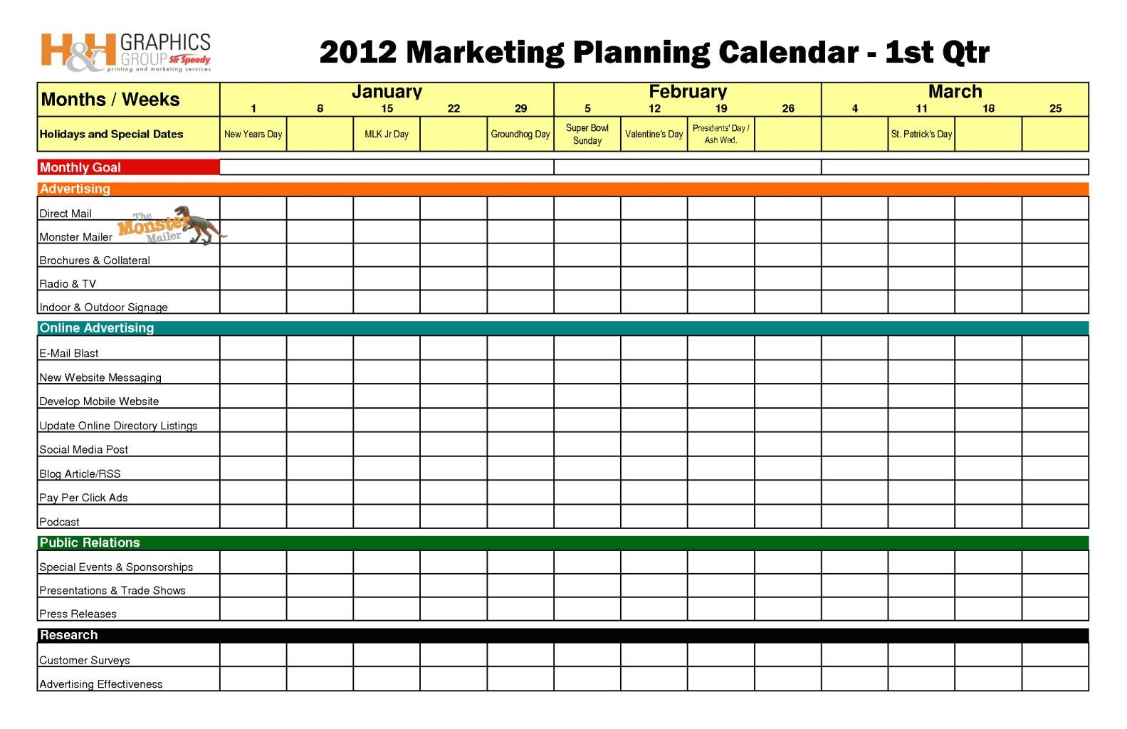 marketing calendar template