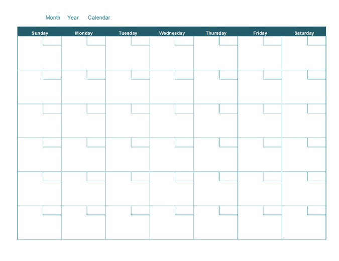 blank monthly calendar tm16400639