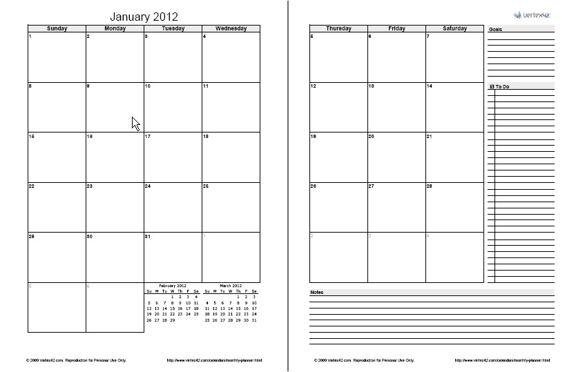 Page A Day Calendar Template Monthly Planner Template Free Printable Monthly Planner