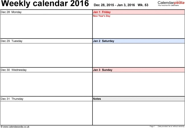 page a day calendar template