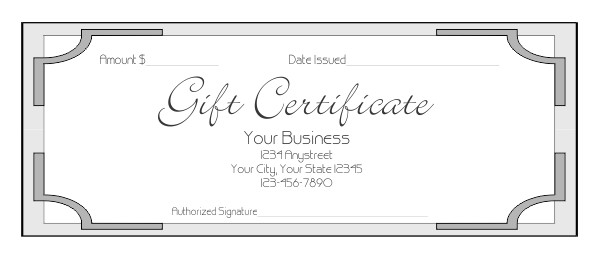 Paper Gift Certificate Template Gift Certificate Template 7