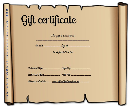 paper gift certificate template