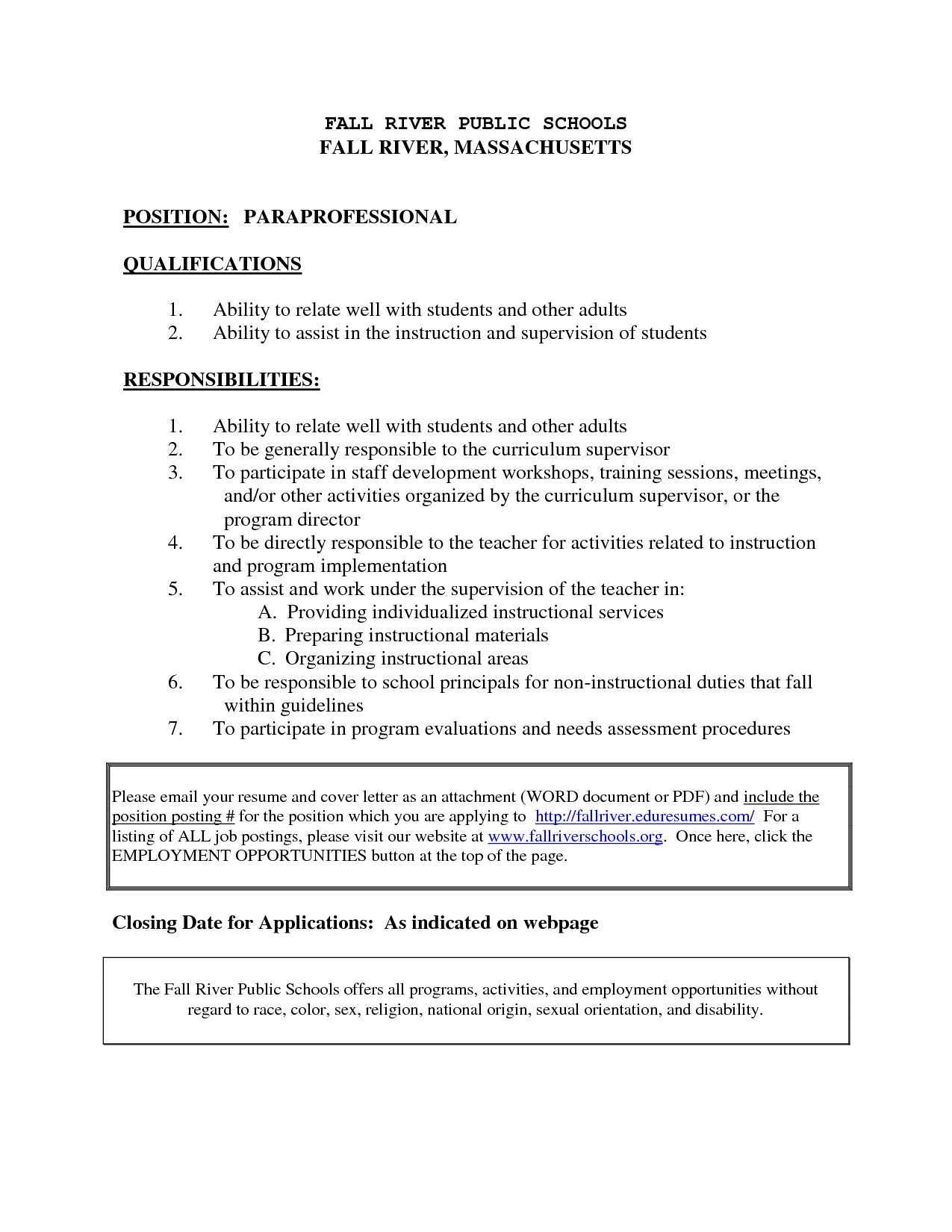paraprofessional job description for resume