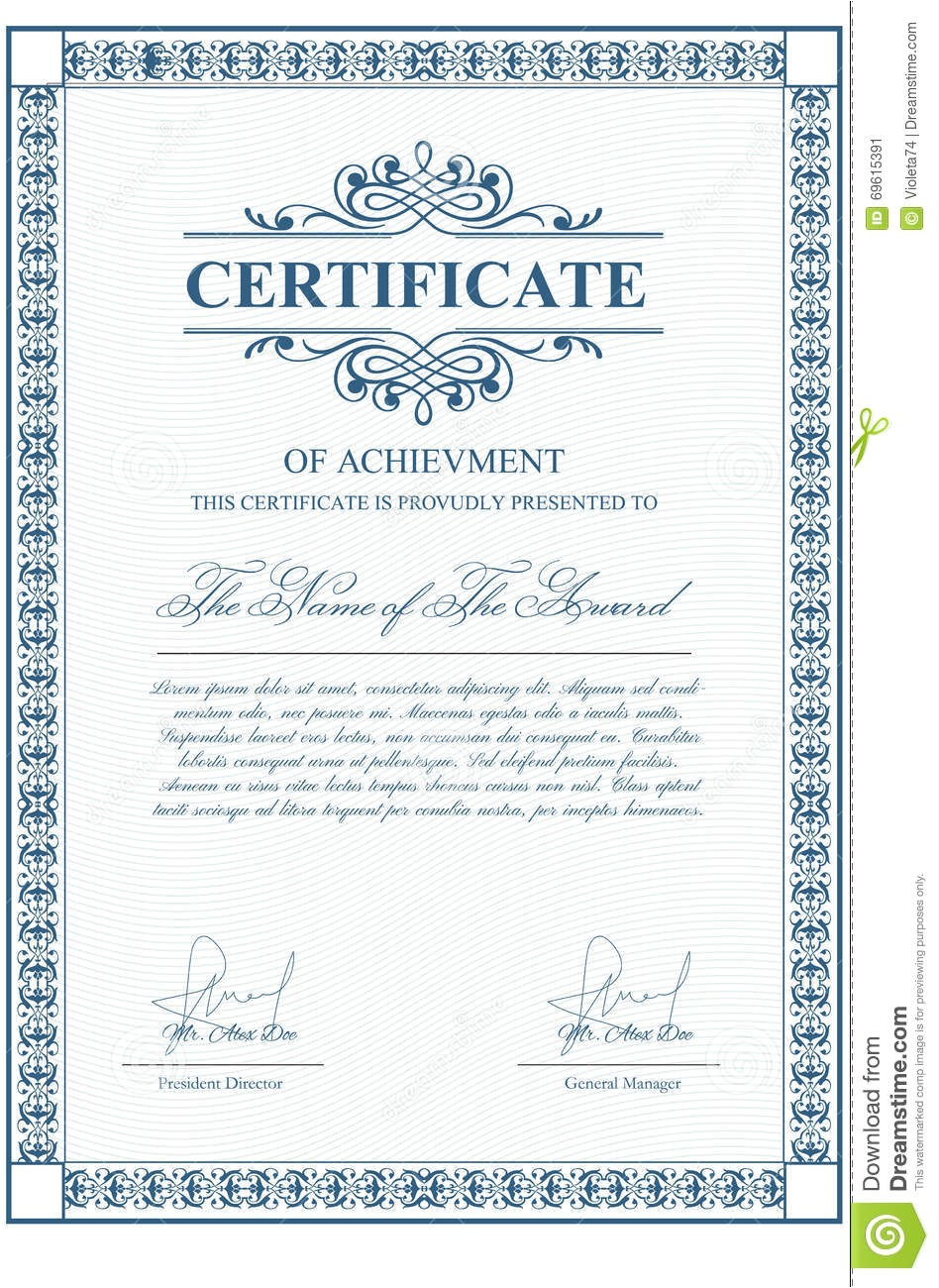 stock illustration certificate template guilloche elements blue diploma border design personal conferment vector layout award patent image69615391