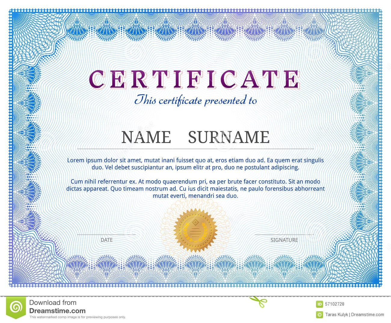 stock illustration certificate template guilloche elements blue diploma border design personal conferment qualitative vector layout image57102728