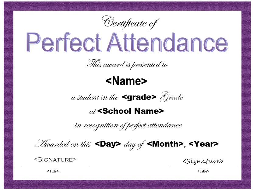 perfect attendance certificate templates