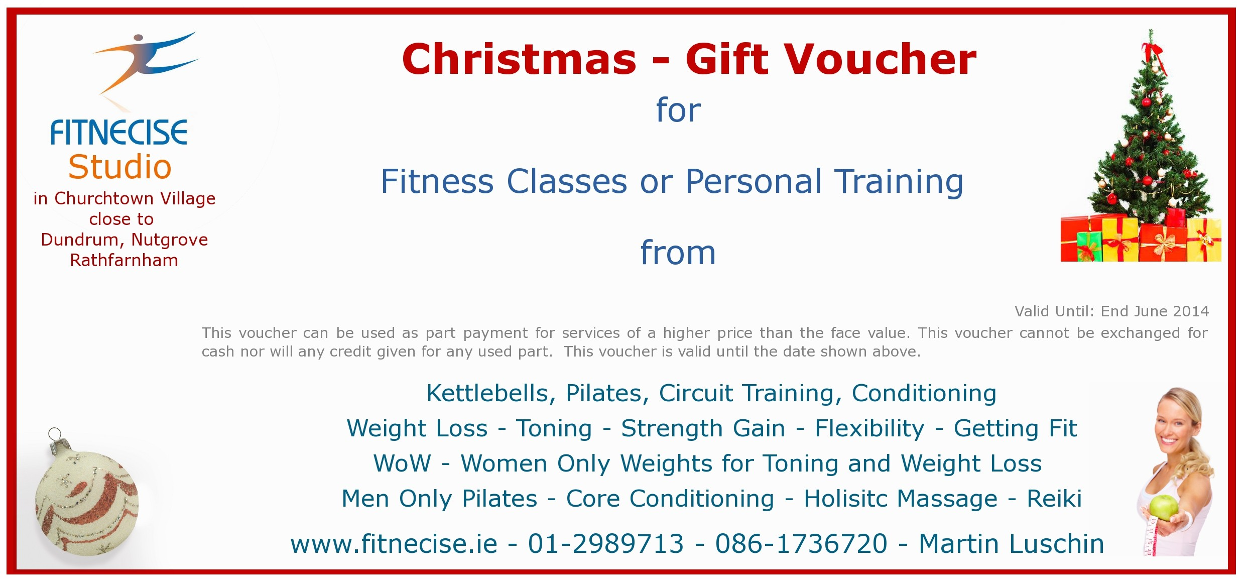 christmas gift vouchers available in south dublin churchtown close to dundrum d14 d16 fitness exercise classes personal training trainer