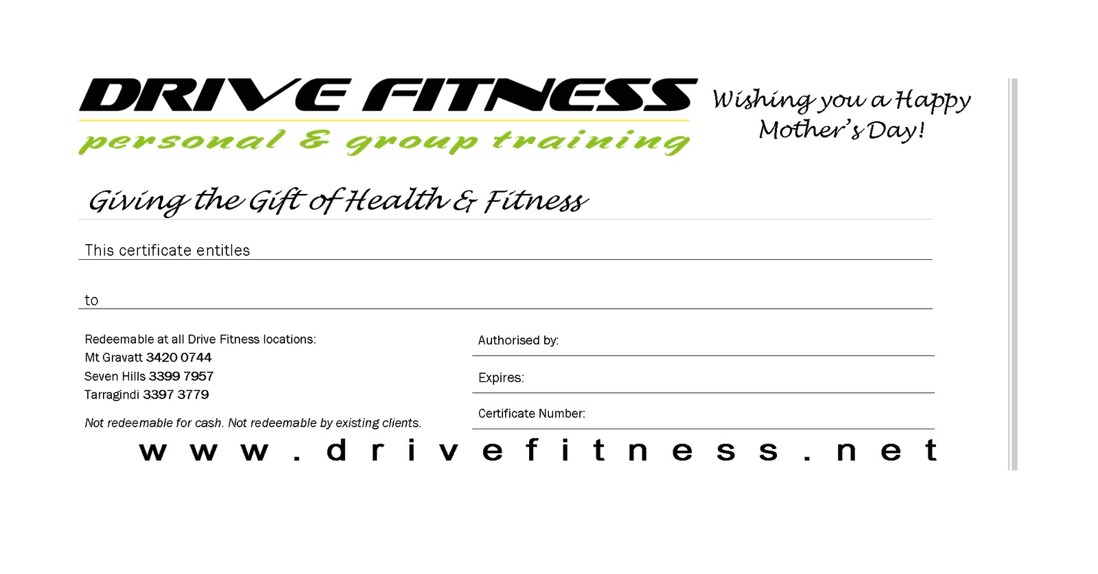 mothers day gift certificates available