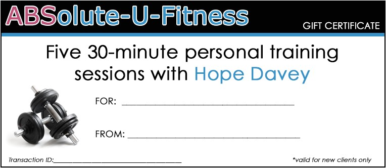 personal trainer gift certificate template