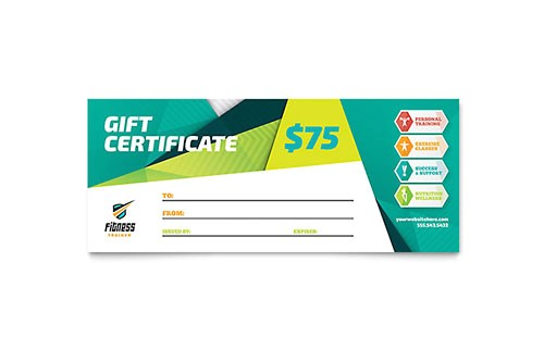 Personal Training Gift Certificate Template Personal Training Gift Certificates Templates Designs