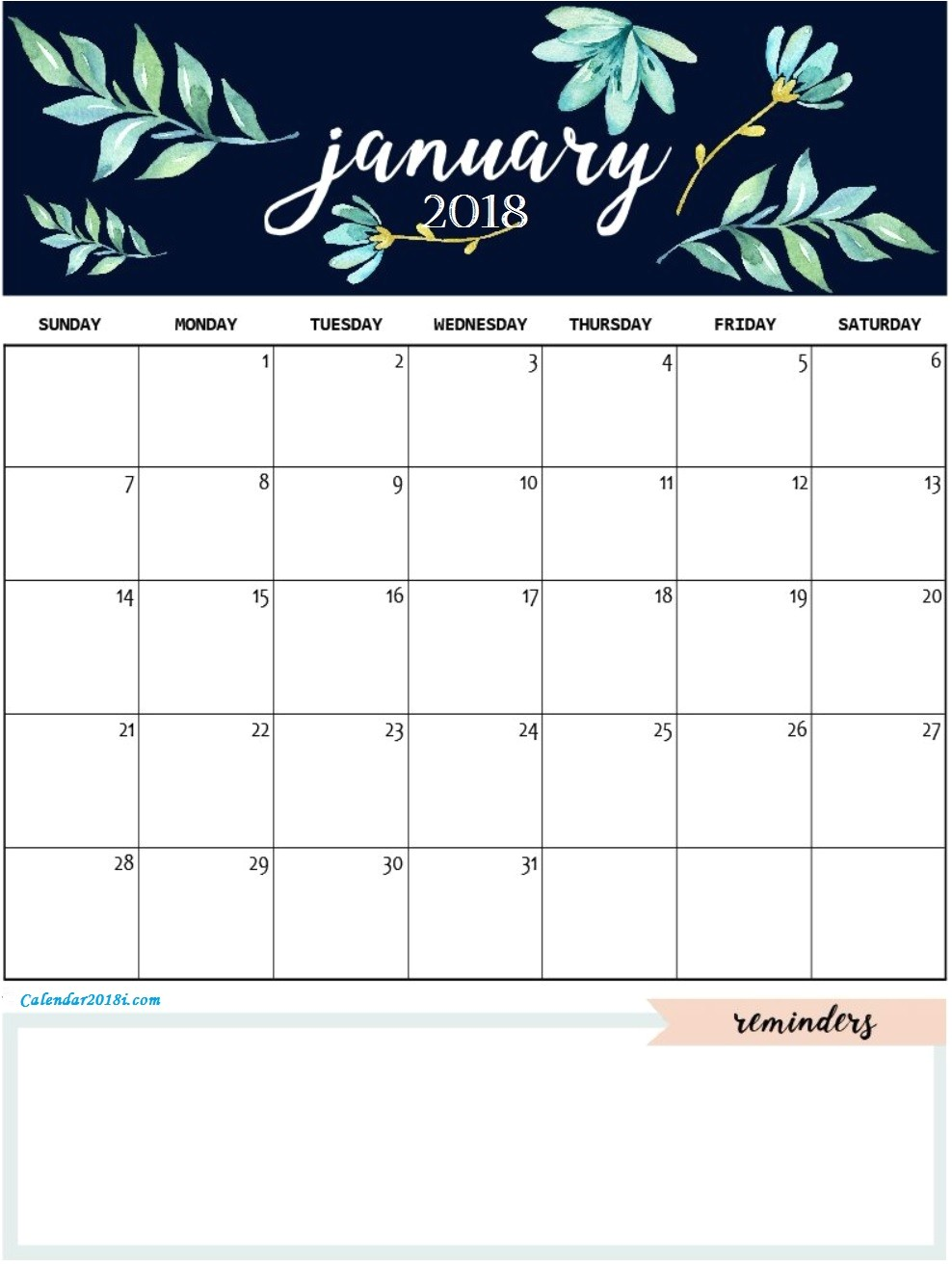 january 2018 personalized calendar
