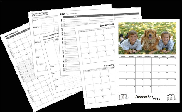 large custom calendar template