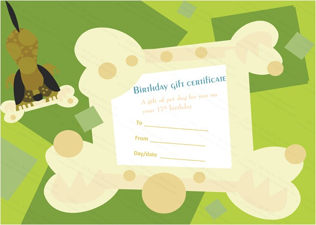 Pet Gift Certificate Template Birthday Gift Certificate Templates Certificate Templates