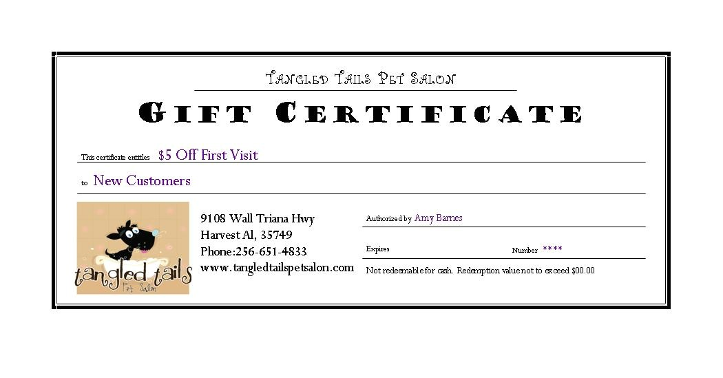 dog grooming gift certificate template
