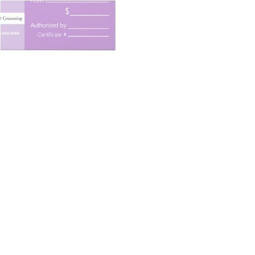 Pet Gift Certificate Template Mobile Pet Groomer Shih Tzu Purp Gift Certificate 4×9 25