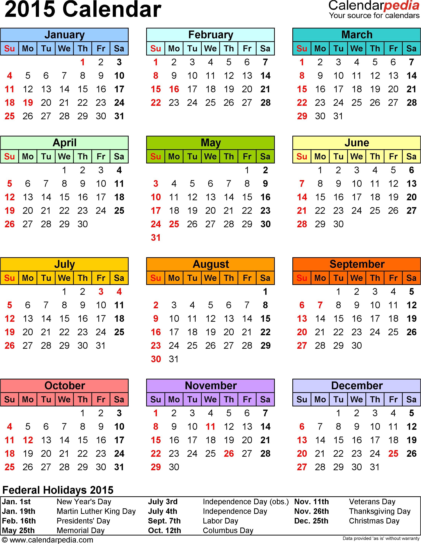 2015 calendar printable template
