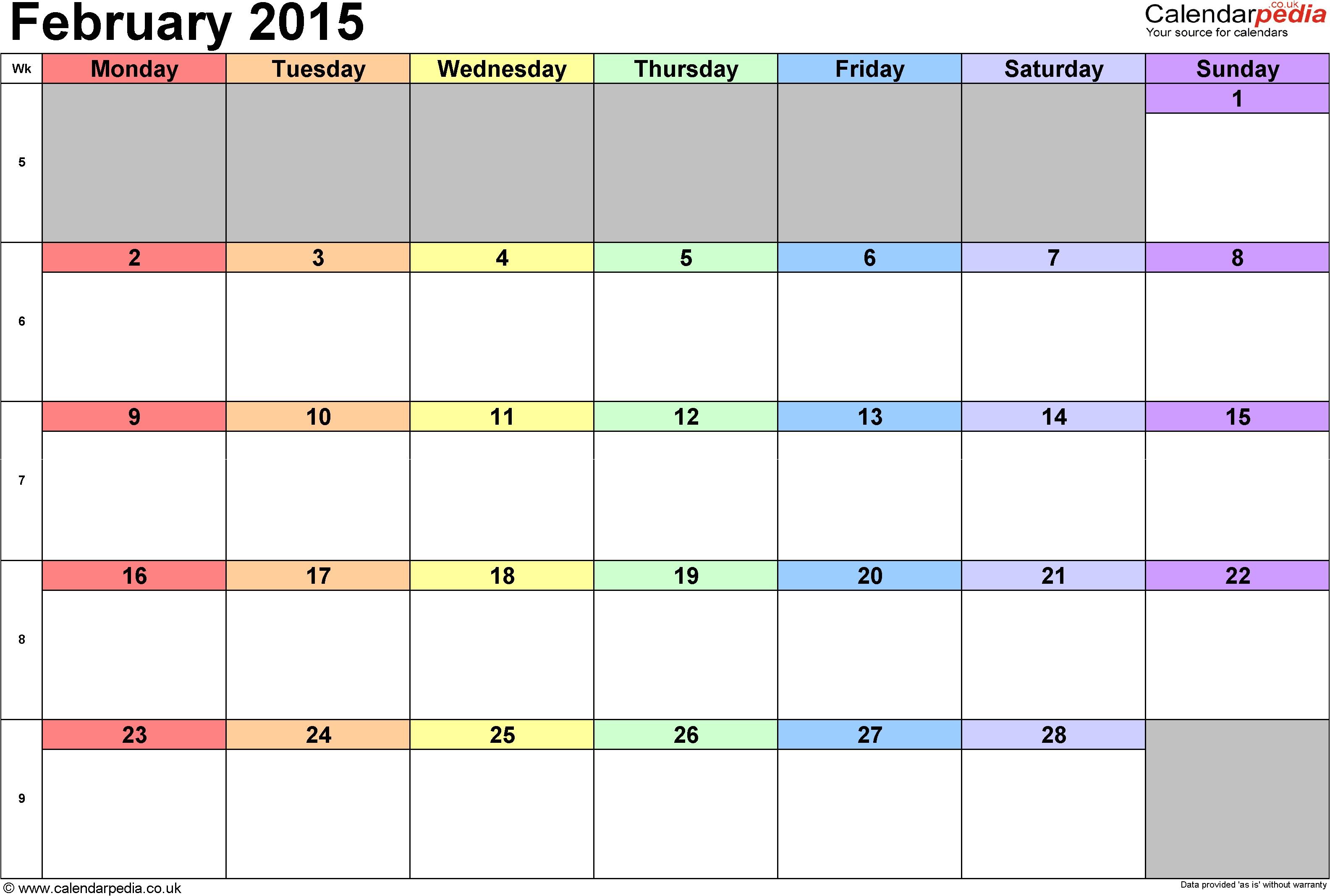 Picture Calendar Template 2015 Monthly Calendar 2015 Template 2017 Printable Calendar