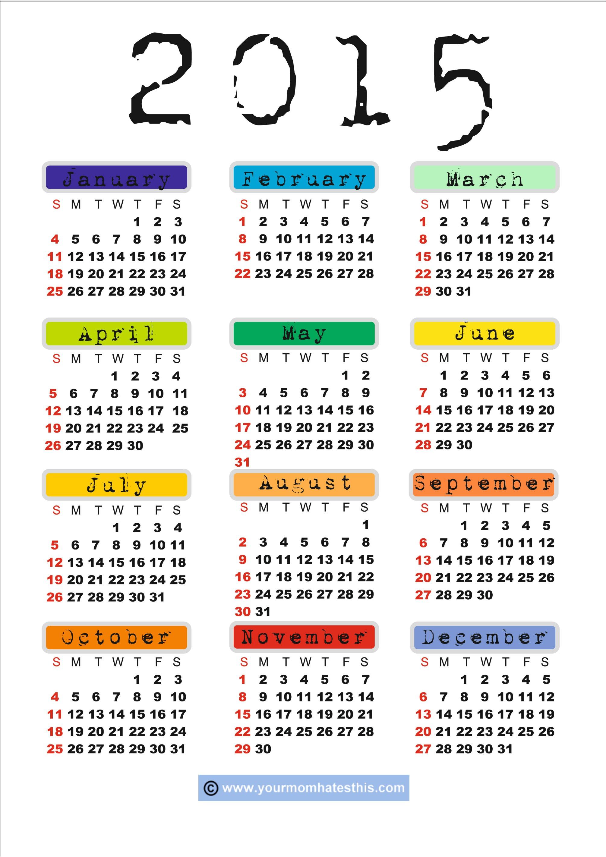 printable calendar template 2015