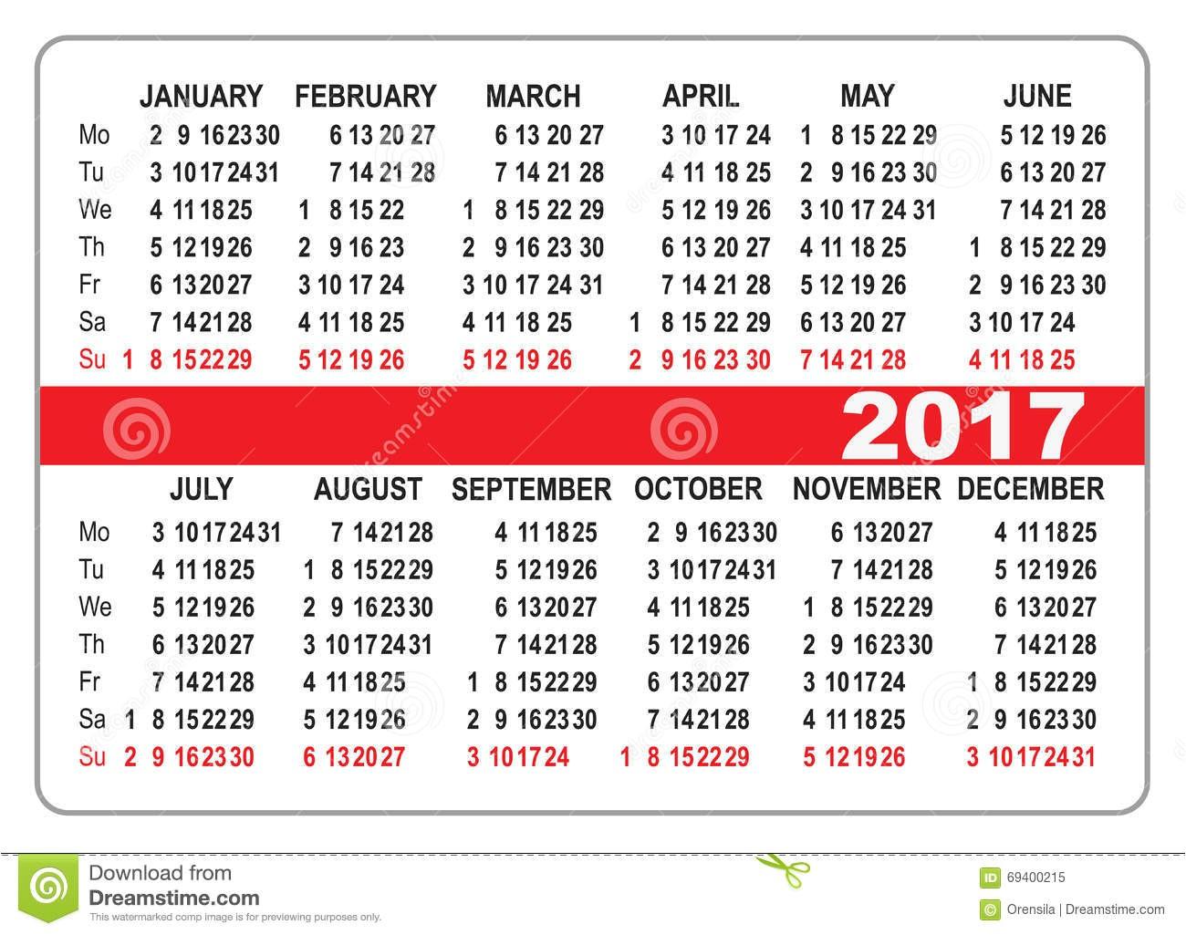 2017 pocket calendar 1687