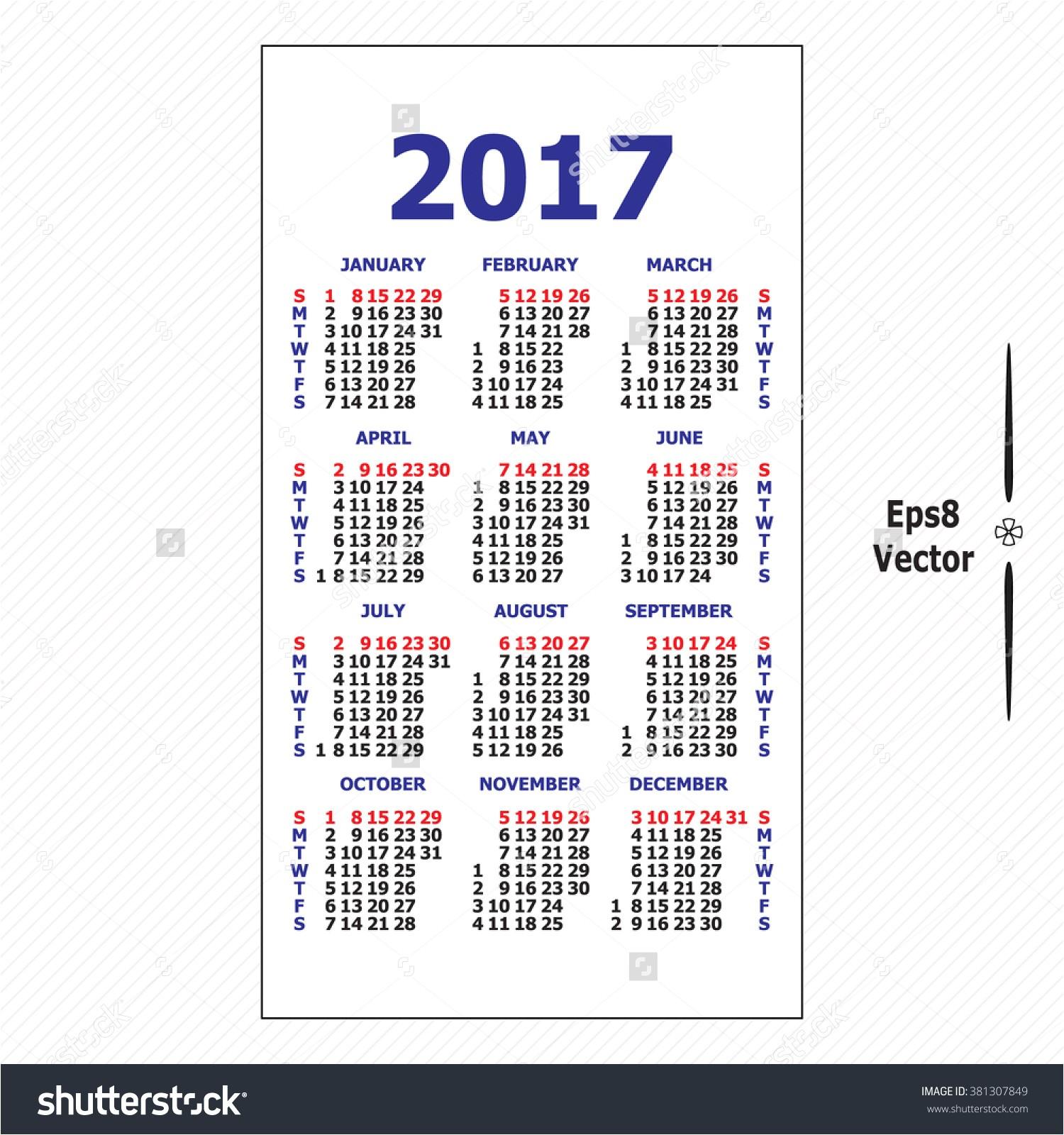 Pocket Calendar Template 2017 2017 Pocket Calendar Templates Free Printable
