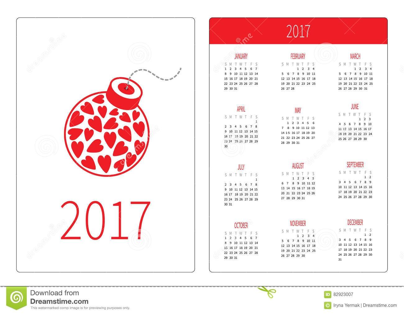 Pocket Calendar Template 2017 Pocket Calendar 2017 Year Week Starts Sunday Flat Design