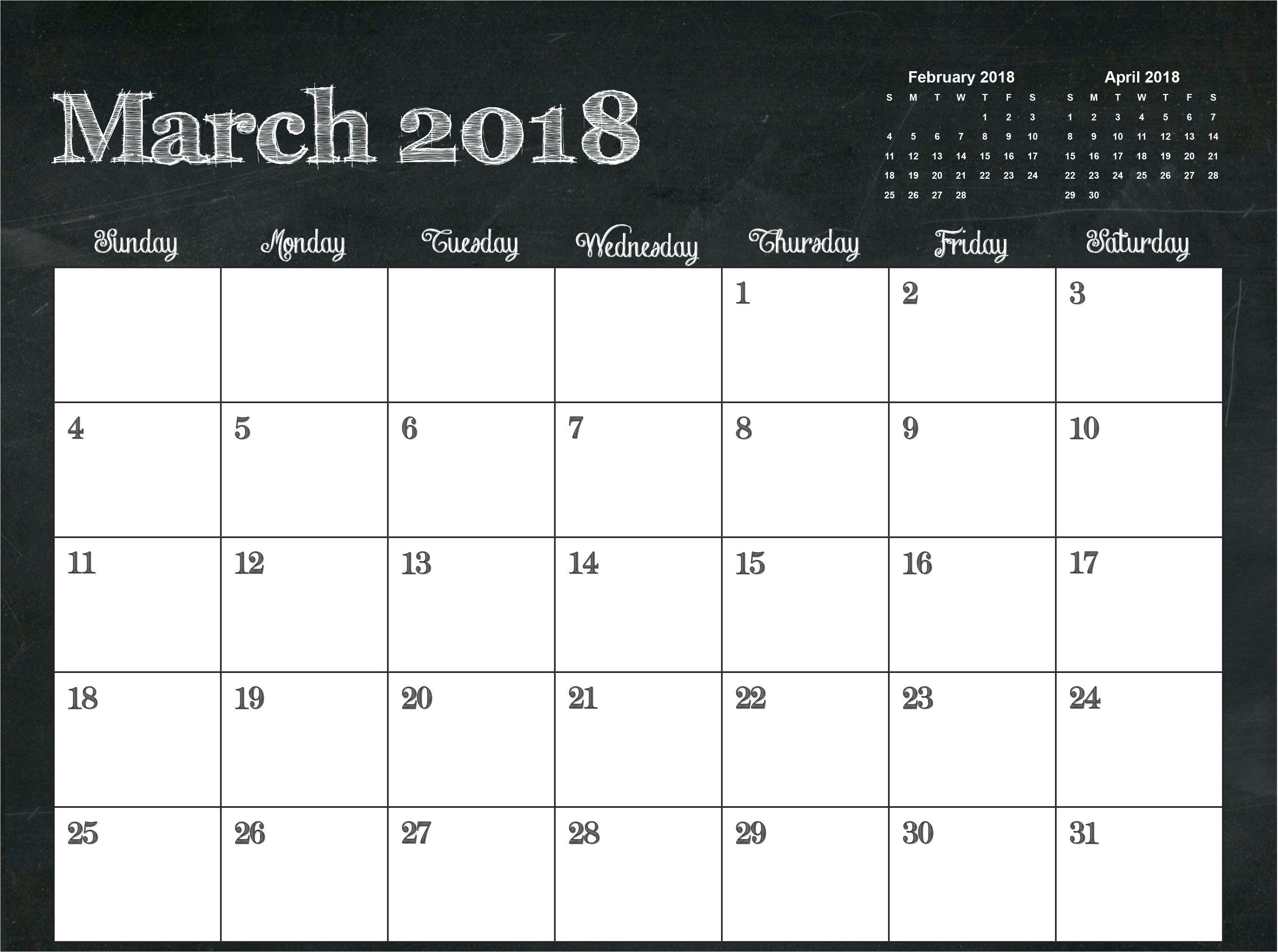 pocket calendar 2018 printable