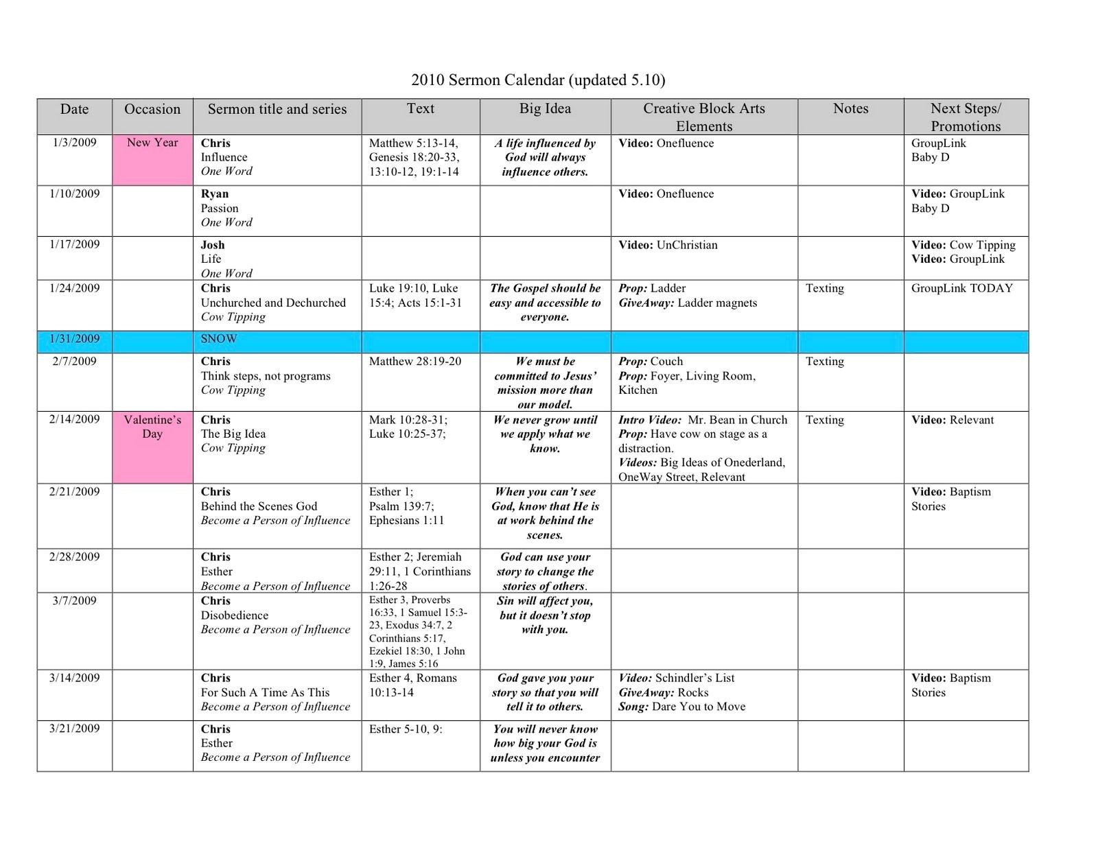 Preaching Calendar Template Planning Engaging Sermon Series Drive 2010 Breakout