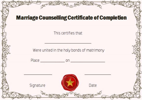 Premarital Counseling Certificate Of Completion Template Certificate Of Completion 22 Templates In Word format