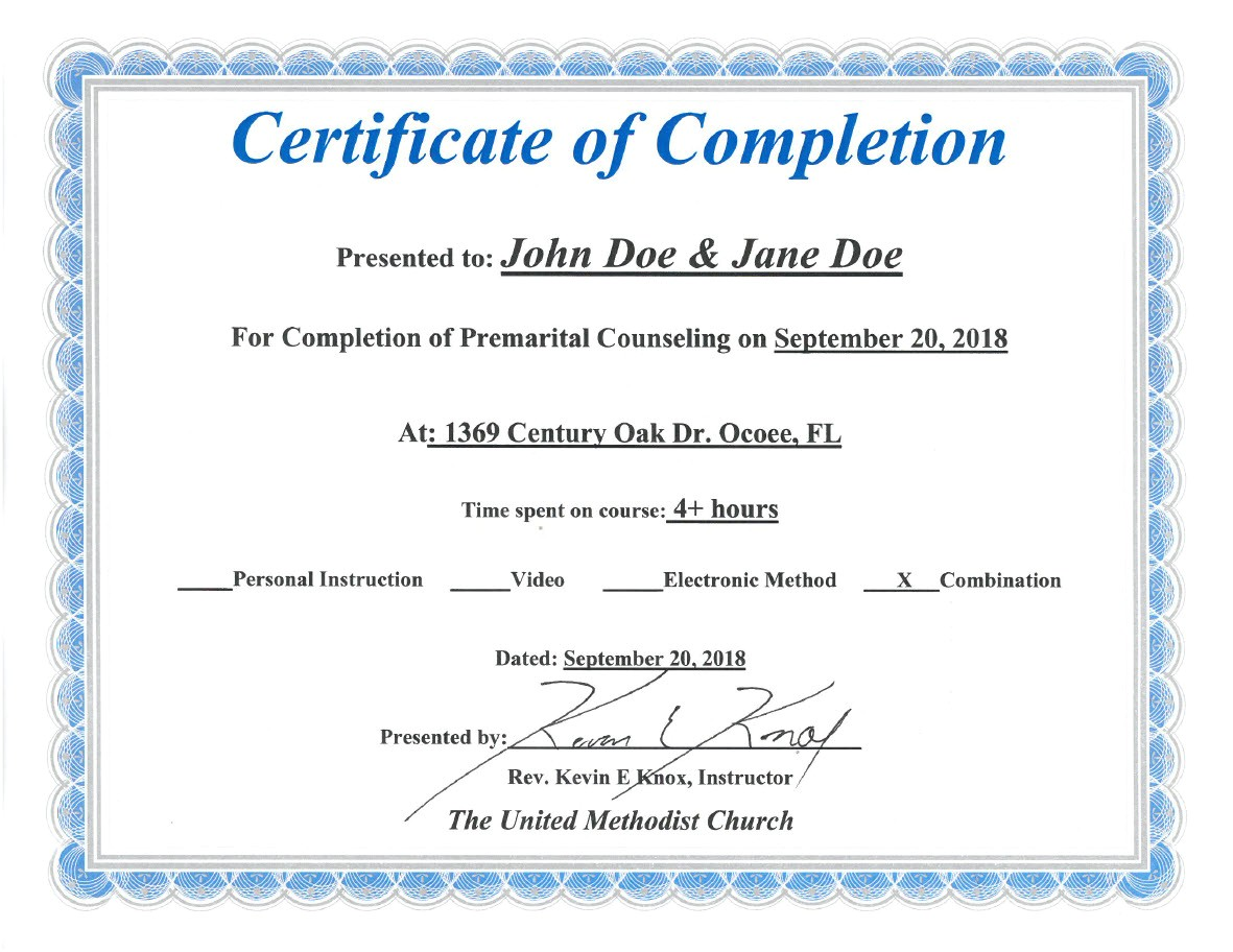 Premarital Counseling Certificate Of Completion Template Florida Premarital Course Online Licensed Provider Only