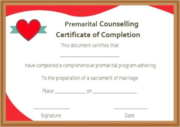 Premarital Counseling Certificate Of Completion Template Free Premarital Counseling Certificate Of Completion