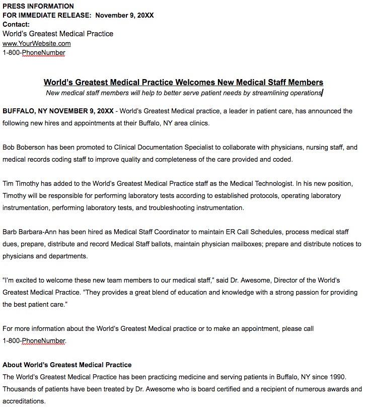 healthcare practice press release examples