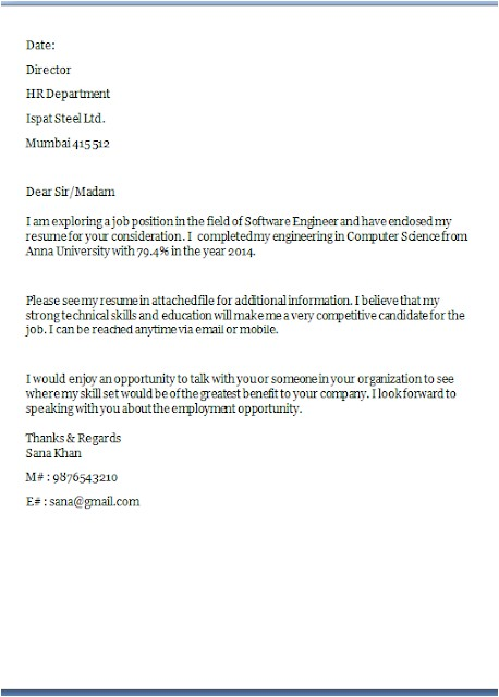 sample professional resume cover letters