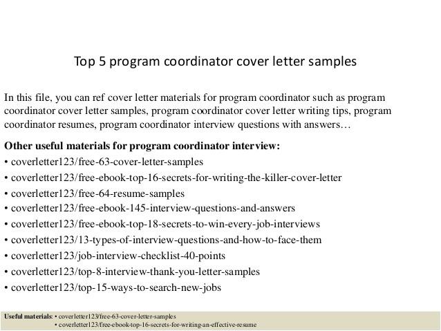 Program Director Cover Letter Template top 5 Program Coordinator Cover Letter Samples