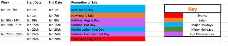 Promo Calendar Template Marketing Promotional Calendar organize Sales Planning