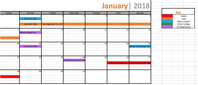 marketing promotional calendar