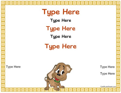 Puppy Certificate Templates Blank Certificates Puppy Certificate Certificatestreet Com