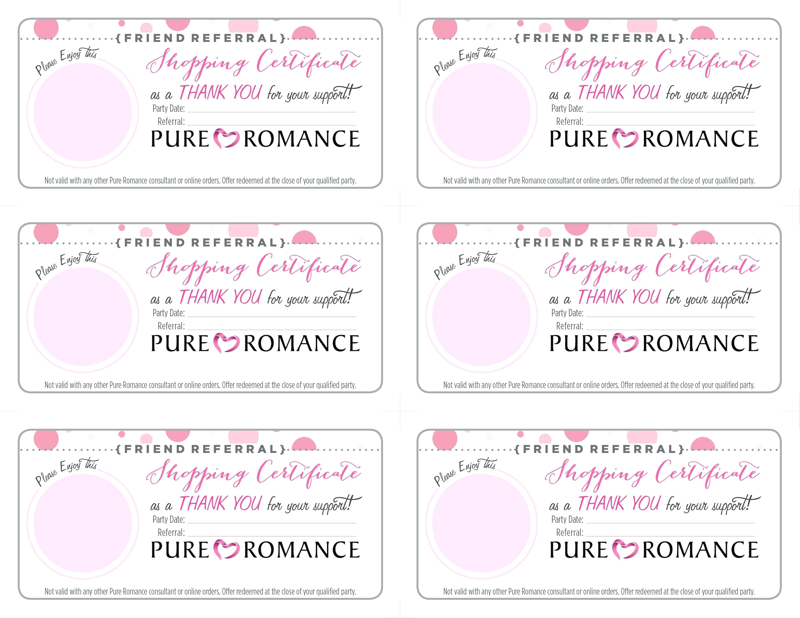 pure romance gift certificate template
