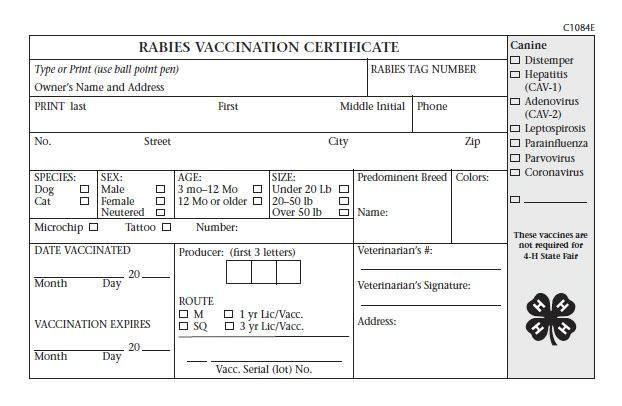 rabies certificate template pdf