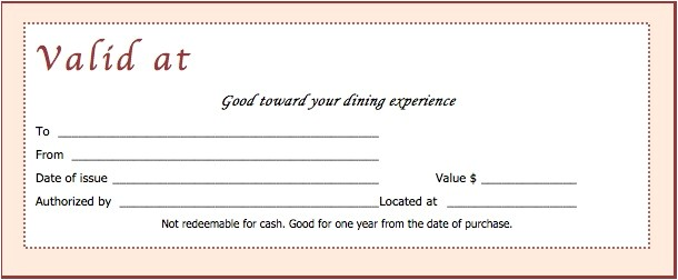 Restaurant Gift Certificate Template Free Download Download Restaurant Gift Certificate Templates Wikidownload