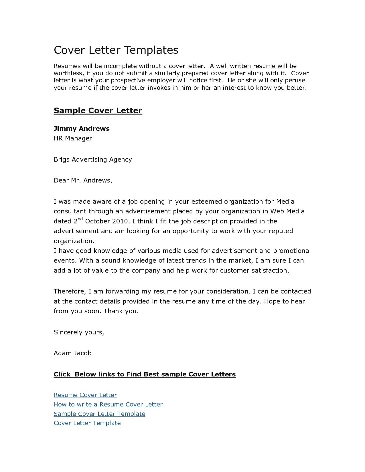 cover letters templates free