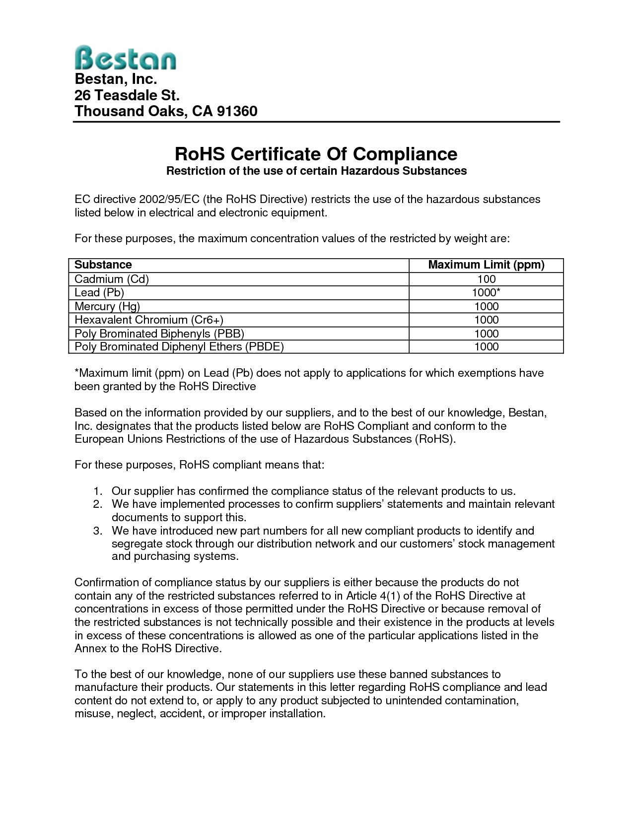Rohs Compliance Certificate Template Rohs Certificate Of Compliance