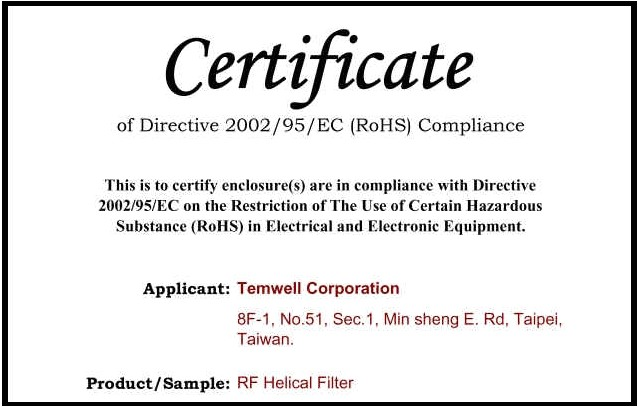 Rohs Compliance Certificate Template Temwell Corporation